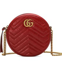 gucci gg marmont mini leather round shoulder bag - red