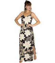 vestido longo viscose estampado maxi floral fendas laterais - feminino