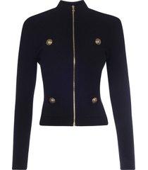 balmain zipped diamond knit jacket