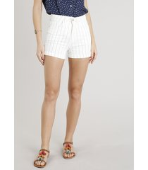 short de sarja feminino hot pant risca de giz off white