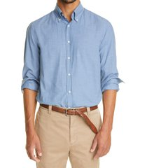 brunello cucinelli regular fit tonal chevron cotton button-down shirt, size medium in blue at nordstrom