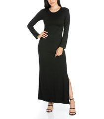 women's long sleeve side slit fitted maxi dress
