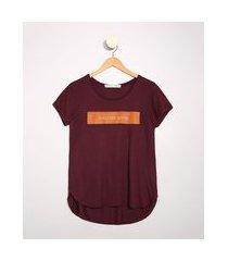 "camiseta feminina manga curta positive mood"" decote redondo vinho"""