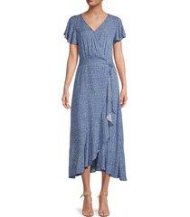 stellah women's ditsy floral ruffle wrap dress - blue - size s