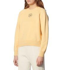 women's sandro positive message crewneck sweater, size 1 - yellow
