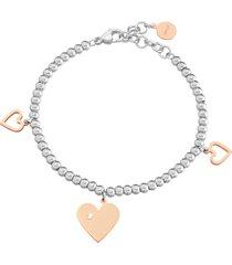 bracciale charms cuore in acciaio bicolore e cristalli per donna