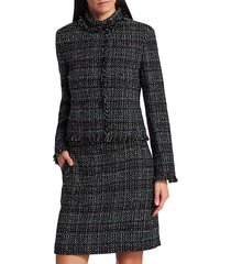 akris punto fringe-trim tweed jacket - black multi - size 8