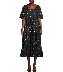 lucca women's allover flower dress - black multi - size s