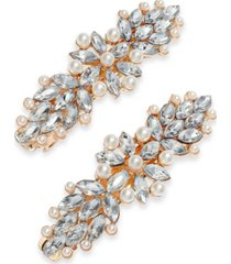 charter club 2-pc. gold-tone crystal & imitation pearl flower hair clip set, created for macy's
