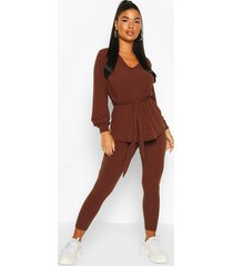 petite knitted soft rib legging co-ord, brown