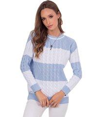 blusa myah carolina azul claro trançada em tricô