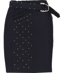 maje women's studded cotton & linen-blend pencil skirt - night blue - size 36 (s)