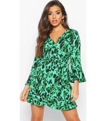 leopard print wrap skater dress, green