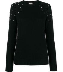 saint laurent crystal-embellished cashmere jumper - black