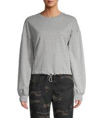 rd style women's toggle hem sweatshirt - heather grey - size s