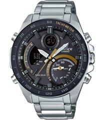 g-shock men's solar analog-digital edifice stainless steel bracelet watch 48mm