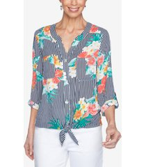 ruby rd. misses woven floral crepe top