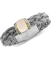 effy opal (7-9/10 ct. t.w.) woven bracelet in sterling silver & 18k gold-plate