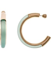 christian siriano new york medium gold tone and teal lucite hoop earrings 1-1/4""