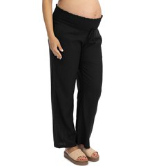 angel maternity smocked waist maternity pants, size small in black at nordstrom