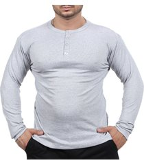 camiseta henley classic slim fit manga longa masculino cinza