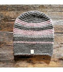 czapka 65% wełna 35% alpaka #szary #różowy