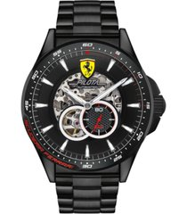 ferrari men's mechanical chronograph pilota black pvd stainless steel bracelet watch 45mm