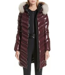 women's moncler fulmar hooded down puffer coat with removable genuine fox fur trim, size 00 (fits like 00-0 us) - burgundy