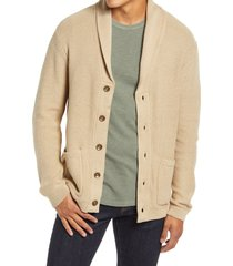 men's liverpool shawl collar cardigan, size small - beige