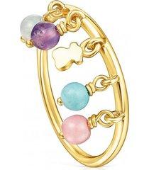 anillo cool joy de plata vermeil y gemas