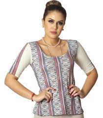 blusa ficalinda meia manga étnica tribal decote redondo evasê