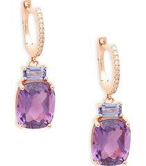 effy women's 14k rose gold, amethyst, tanzanite & diamond drop earrings