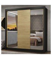 guarda-roupa casal madesa lyon 3 portas de correr com espelhos 2 gavetas preto/carvalho preto