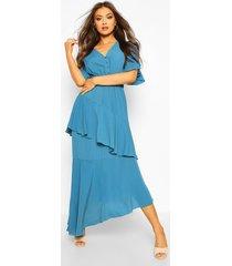 angel sleeve tiered maxi dress, teal