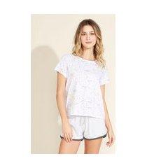 pijama feminino lonney tunes manga curta branco