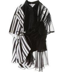 sacai asymmetrical shirt with stripes and chiffon
