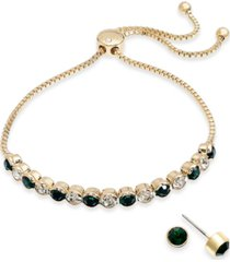charter club 2-pc. set crystal birthstone bolo bracelet & stud earrings, created for macy's