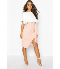 batwing colour block midi dress, blush