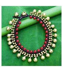 beaded quartz bracelet, 'summer chimes' (thailand)