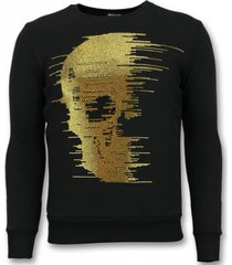 tony backer rhinestone trui gold skull sweater