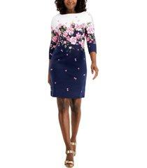 karen scott 3/4-sleeve floral dress, created for macy's
