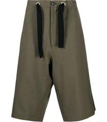 oamc green cotton shorts
