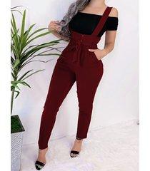 burgundy with belt button design jumpsuit