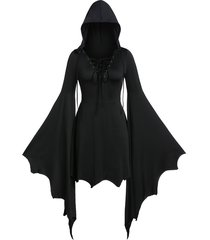 plus size gothic tunic lace up solid hoodie