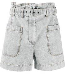 brunello cucinelli high-rise belted denim shorts - grey
