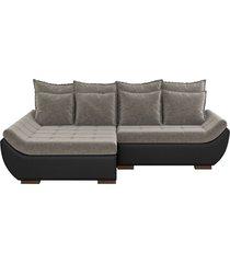 sofá com chaise esquerda 3 lugares sala de estar 237cm inglês linho marrom/corino preto - gran belo - tricae