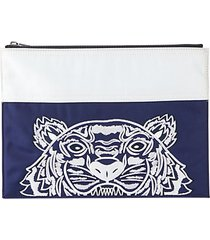 embroidered top-zip pouch