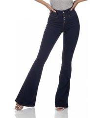 calça jeans denim zero flare média bolso embutido