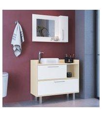 conjunto para banheiro gabinete + espelheira criando mobilia 3 portas