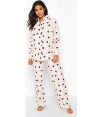 zwangerschap geborstelde gewoven sterrenprint pyjama set met broek, roze